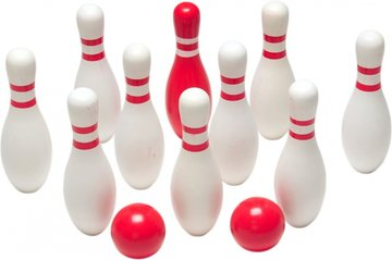 bowlingspel hout 12-delig wit/rood